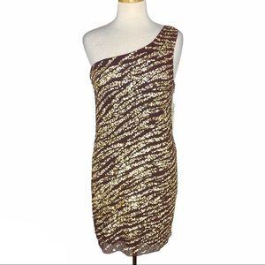 Alice + Olivia Nora Sequin One Shoulder Dress Sz 6